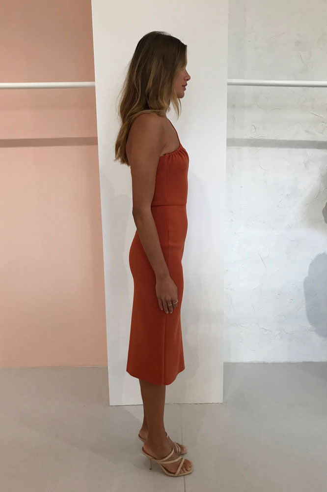 Bec & Bridge Ruby Aysm Midi Dress in Rust
