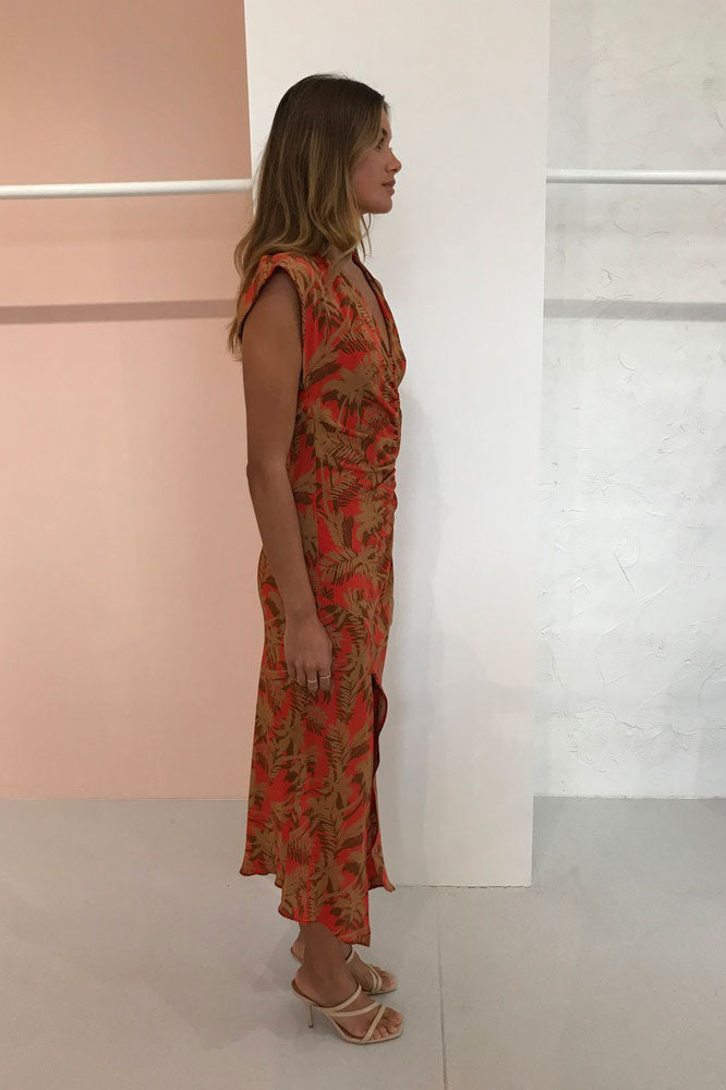 Bec & Bridge Shady Palm Aysm Midi Dress in Red Palm