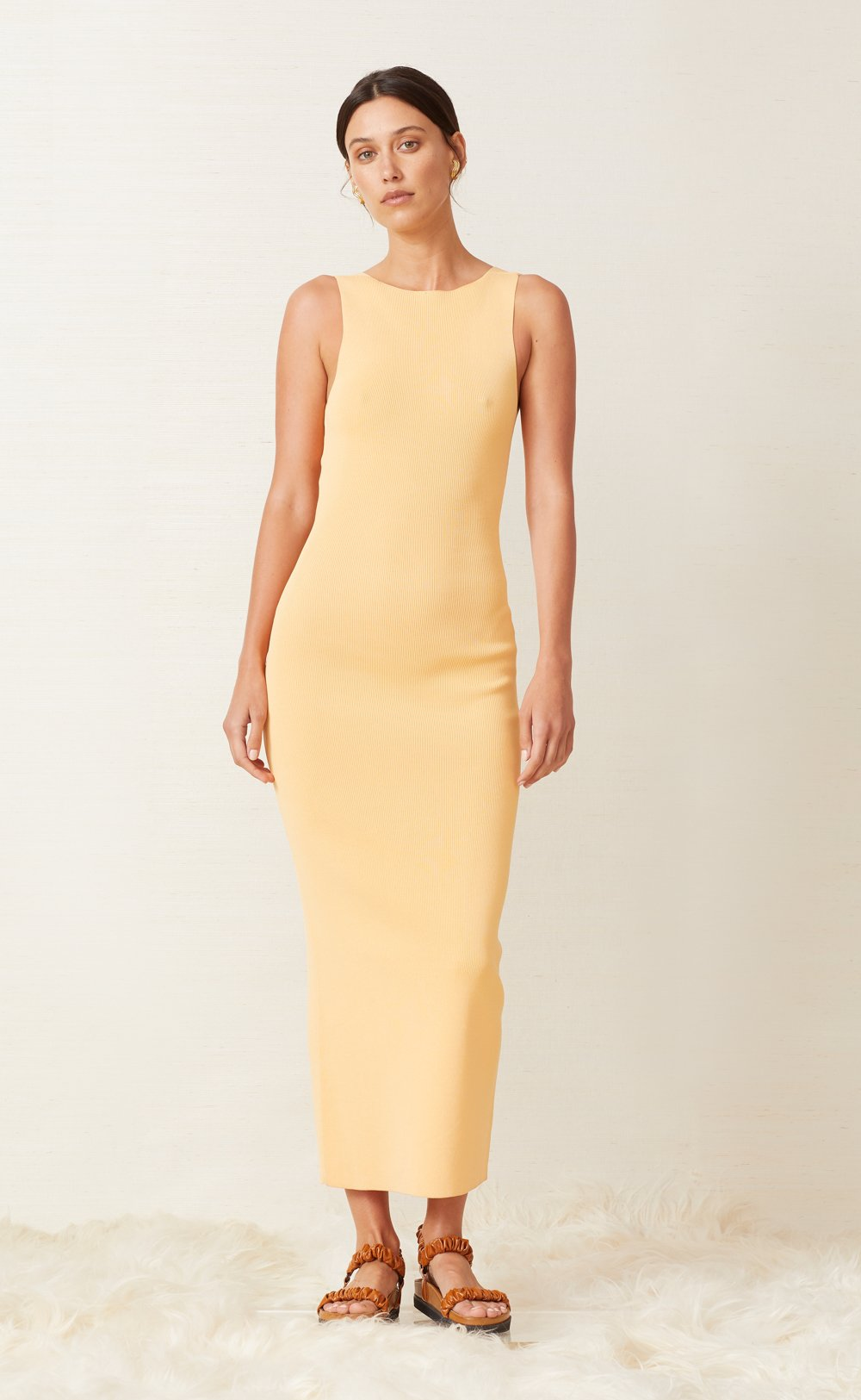 Bec & Bridge Sorbet Summer Midi Dress in Canteloupe