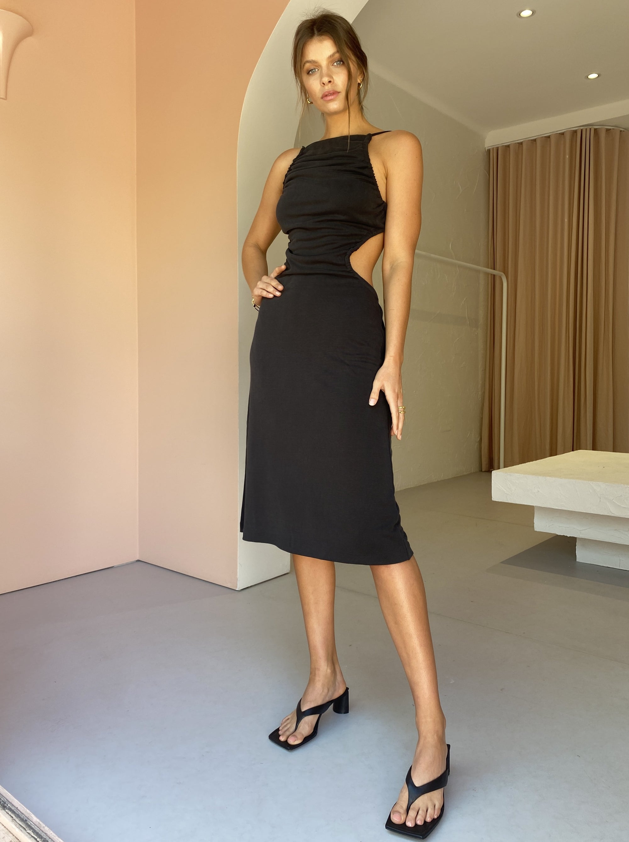 Third Form Lure In Midi Dress in Black