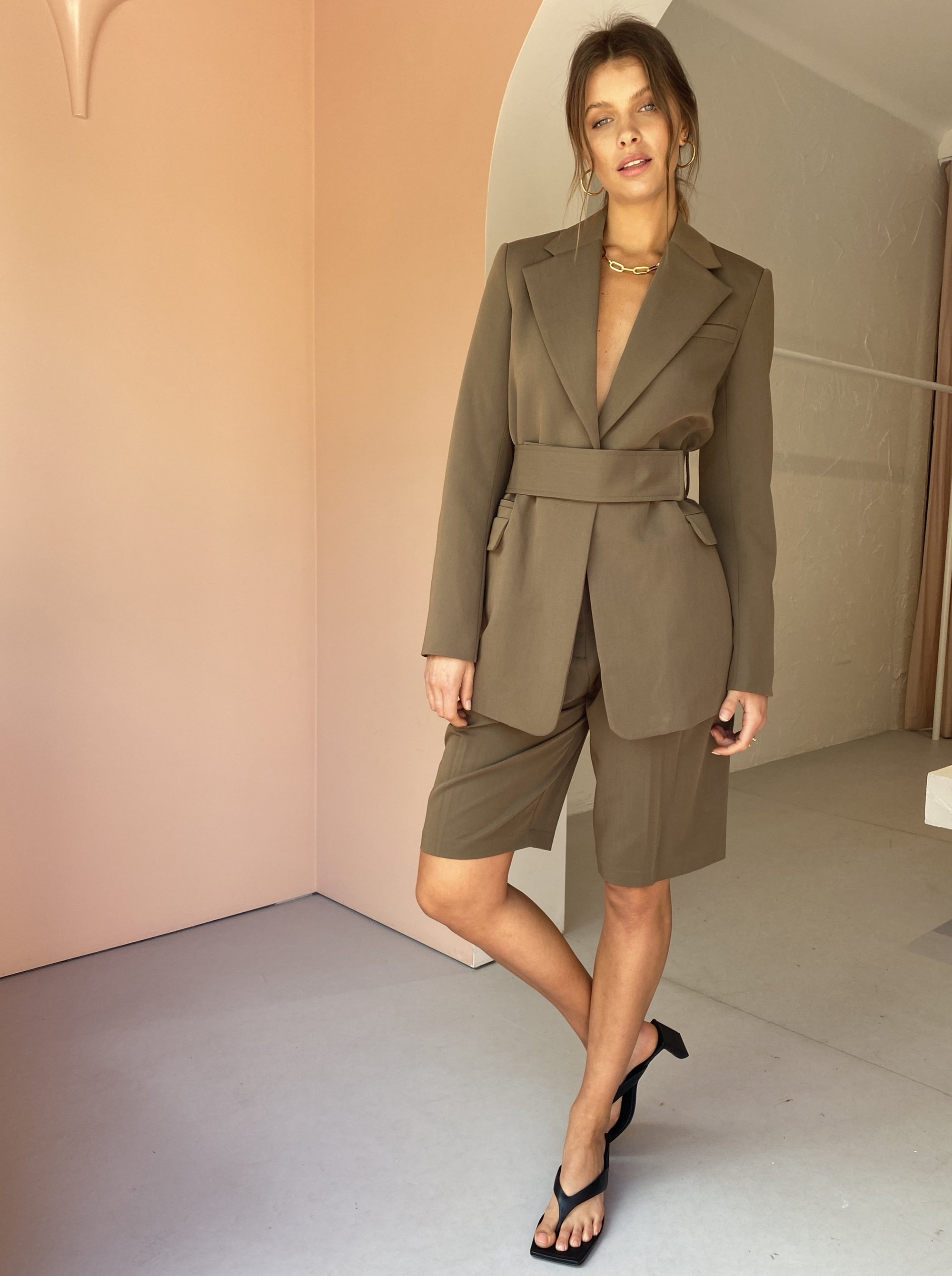 Camilla and Marc Juanita Longline Blazer in Deep Khaki