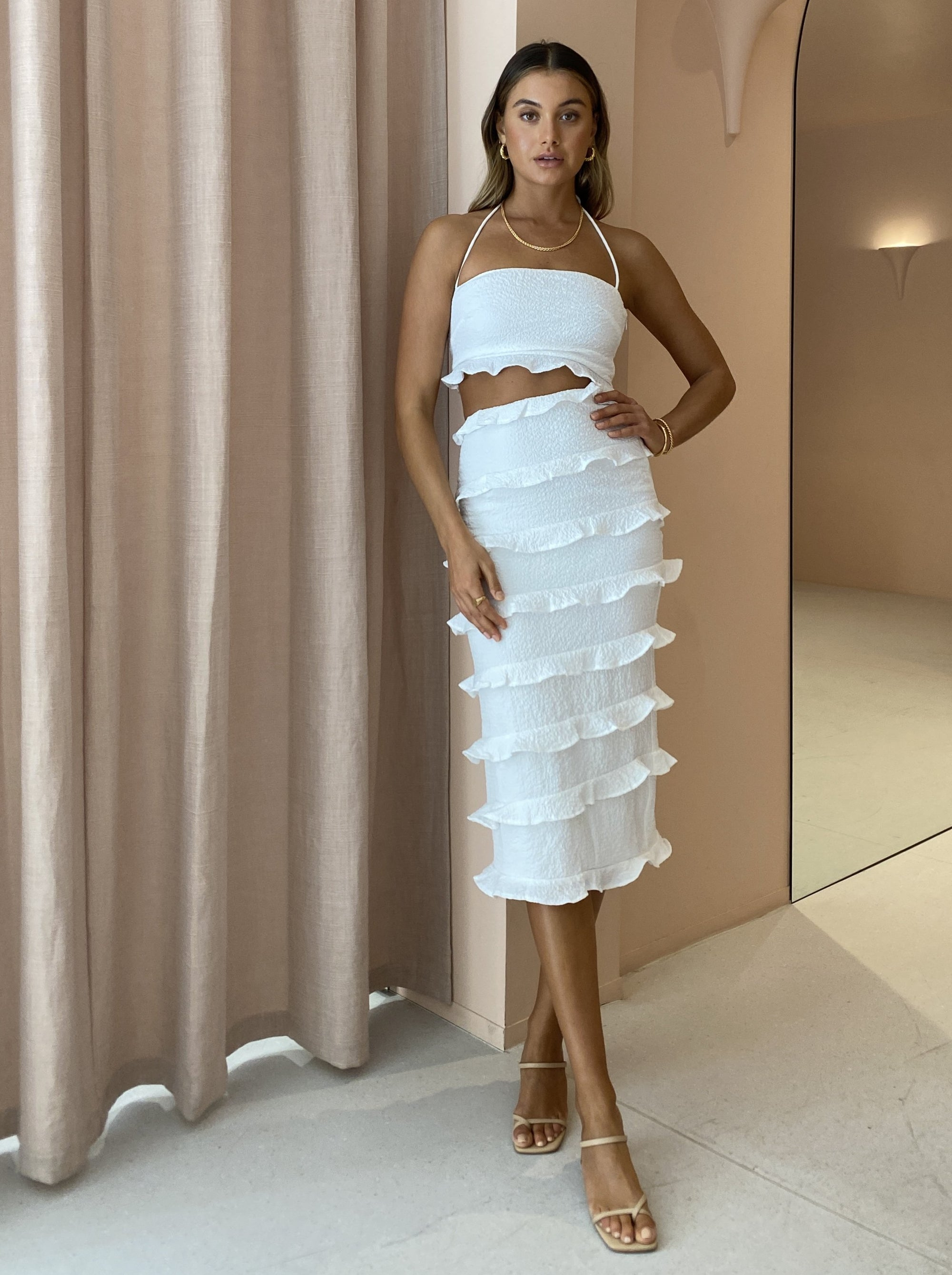 By Nicola Halo Midi Dress in White