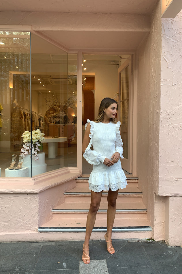 Issy Paris Dress in White Eyelet