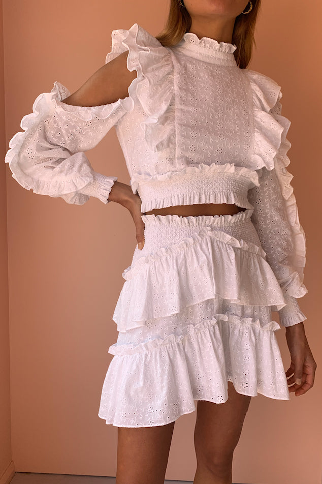 Issy Monet Skirt in White Eyelet