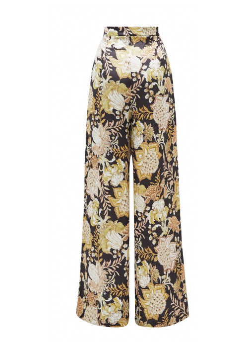 Thurley Isla Pant in Black Gold Chateau Floral