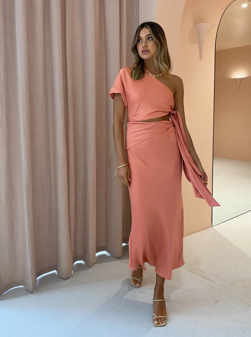 Issy Mona Dress in Coral Pink