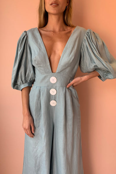 Joslin Mariel Linen Jumpsuit in Seaside Blue