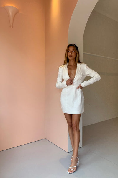 Joslin Harley Ramie Blazer Dress in Ivory