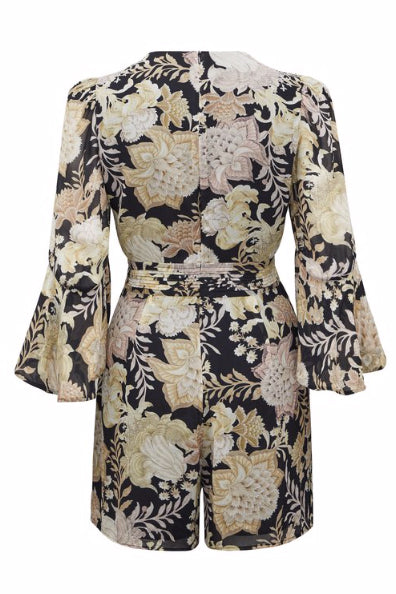 Thurley Jolelle Playsuit in Black Blossom Chateau Floral
