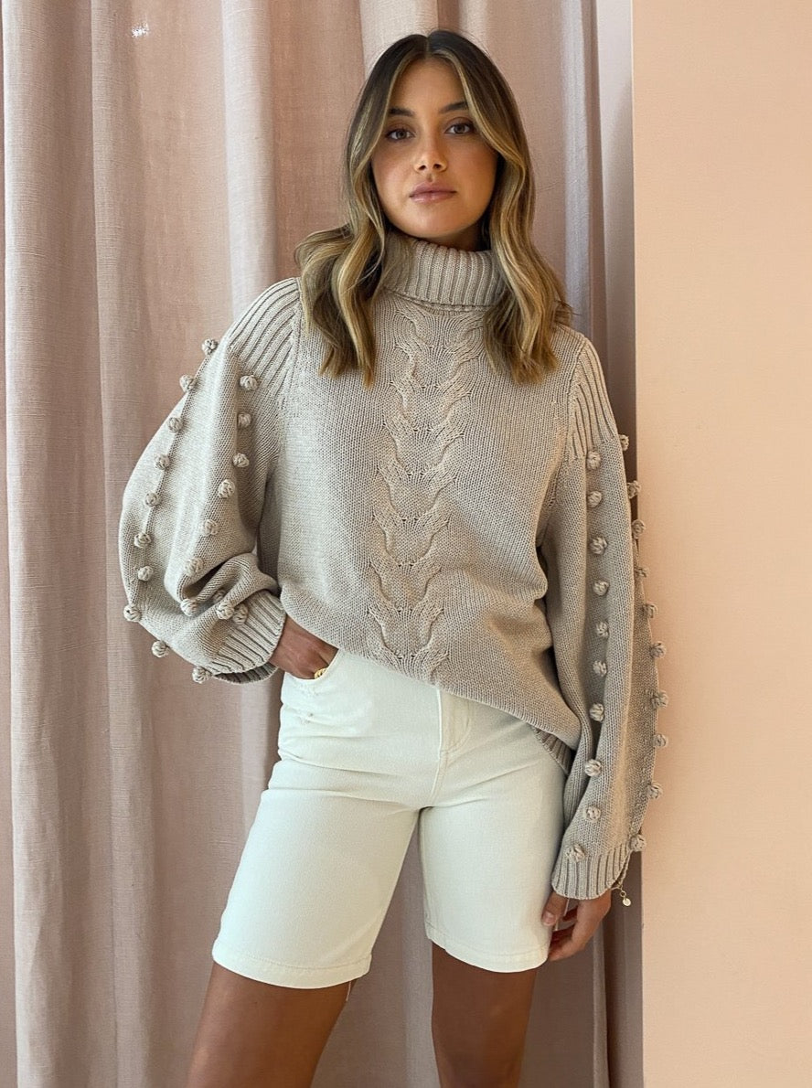Joslin Katie Cotton Cashmere Knit in Camel Marle