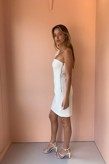 By Johnny Lean Shoulder Mini Dress in White