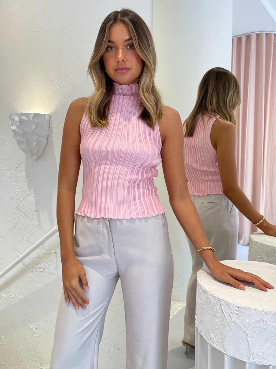 Lidee Soiree Pleated Top in Pink