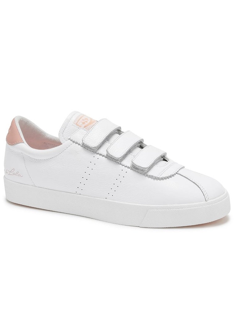 Superga x Coco Velcro Leather Sneaker in White/Pink