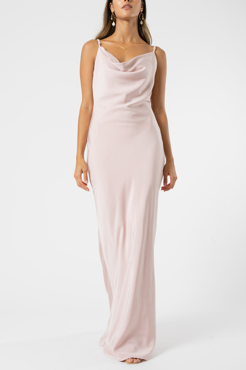 Olive and Ivy Cowl Maxi Dress in Blush