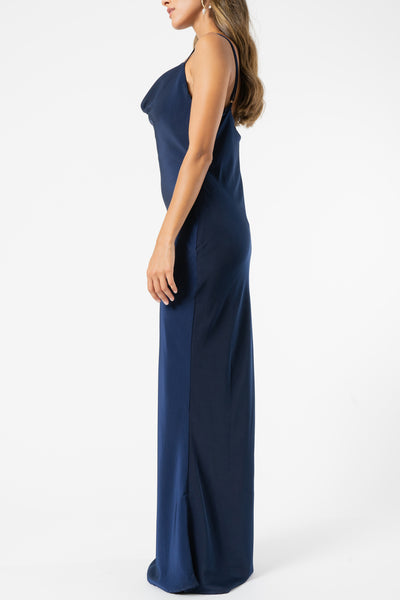Olive and Ivy Cowl Maxi Dress in Navy
