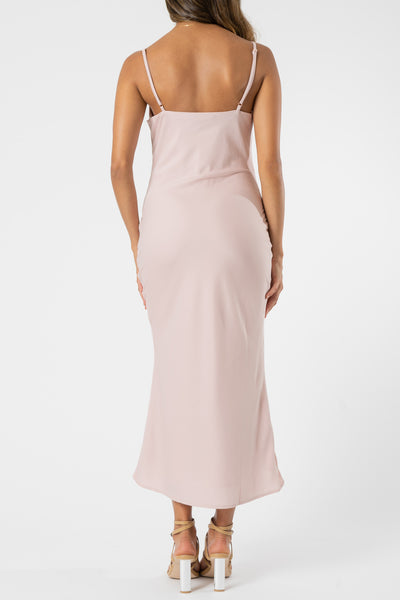 Olive and Ivy Cowl Midi Dress in Blush
