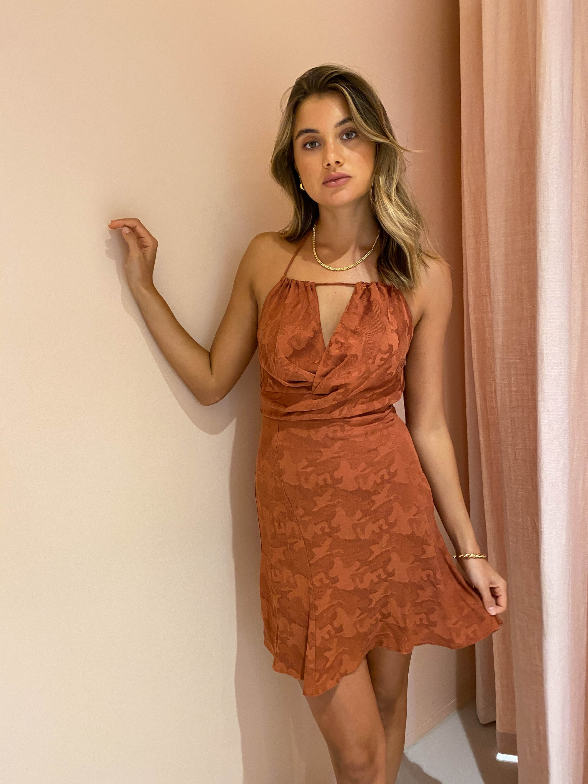 One Fell Swoop Billie Mini Dress in Rust Brocade
