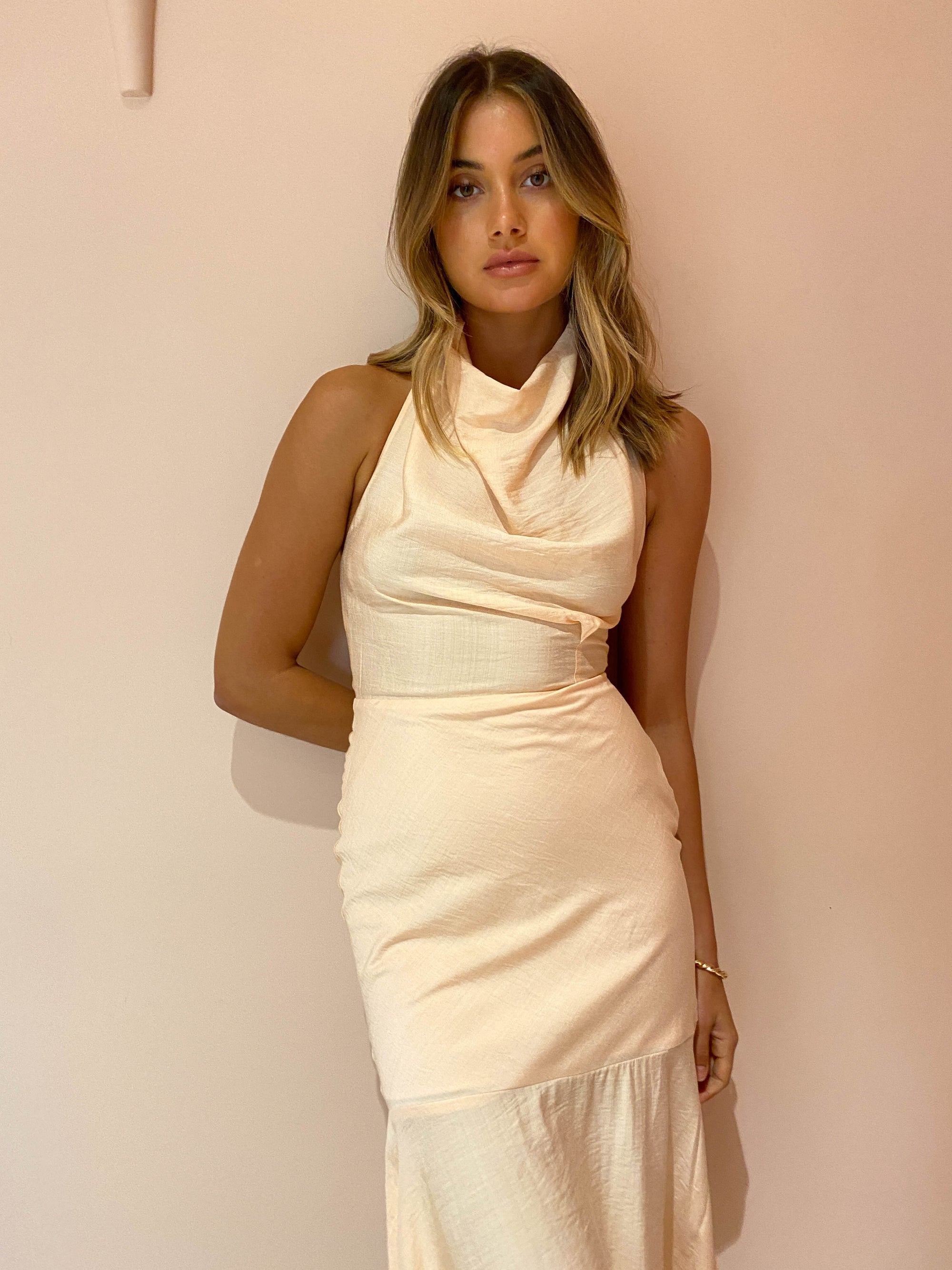 One Fell Swoop Mia Midi Dress in Apricot