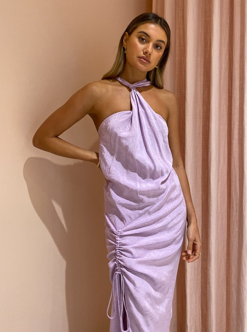 One Fell Swoop Bow Maxi Dress in Periwinkle Jacquard