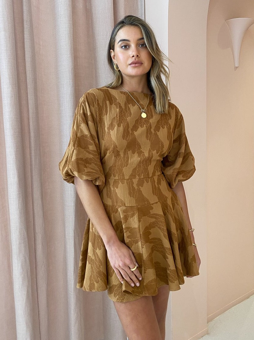 One Fell Swoop Alicia Mini Dress in Umber Jacquard