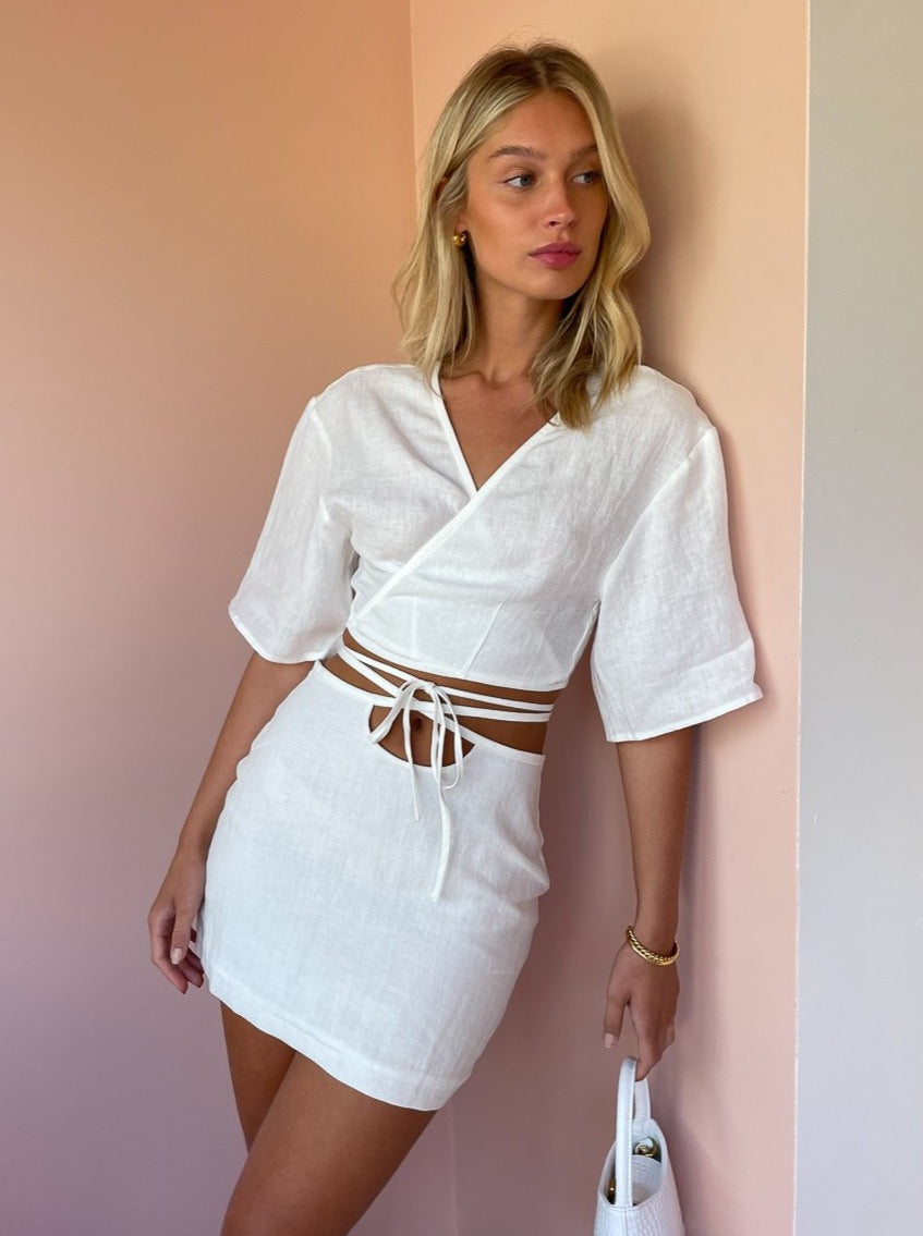 Ownley Cleo Skirt in White