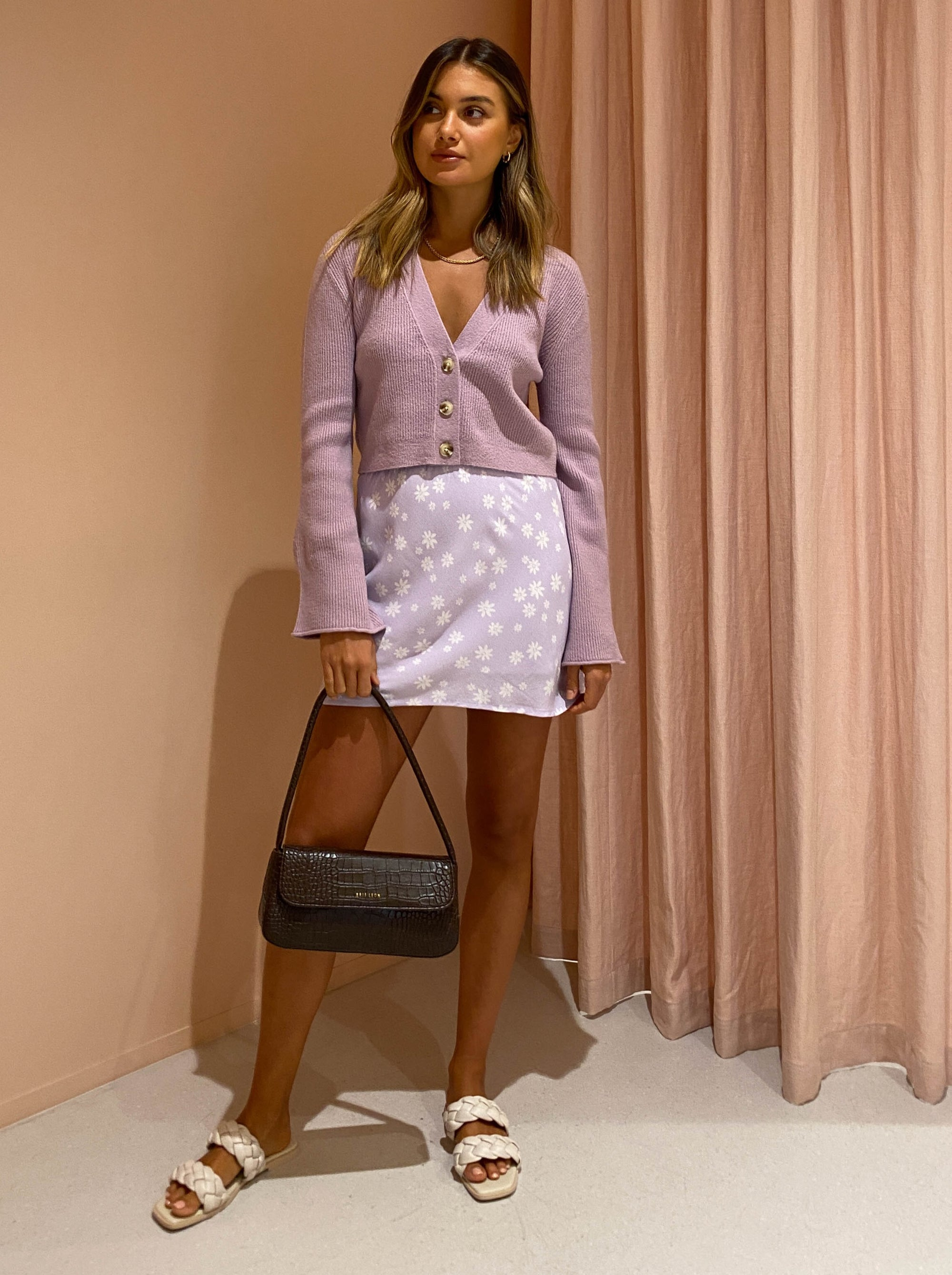 Ownley Harper Skirt in Lilac Daisy