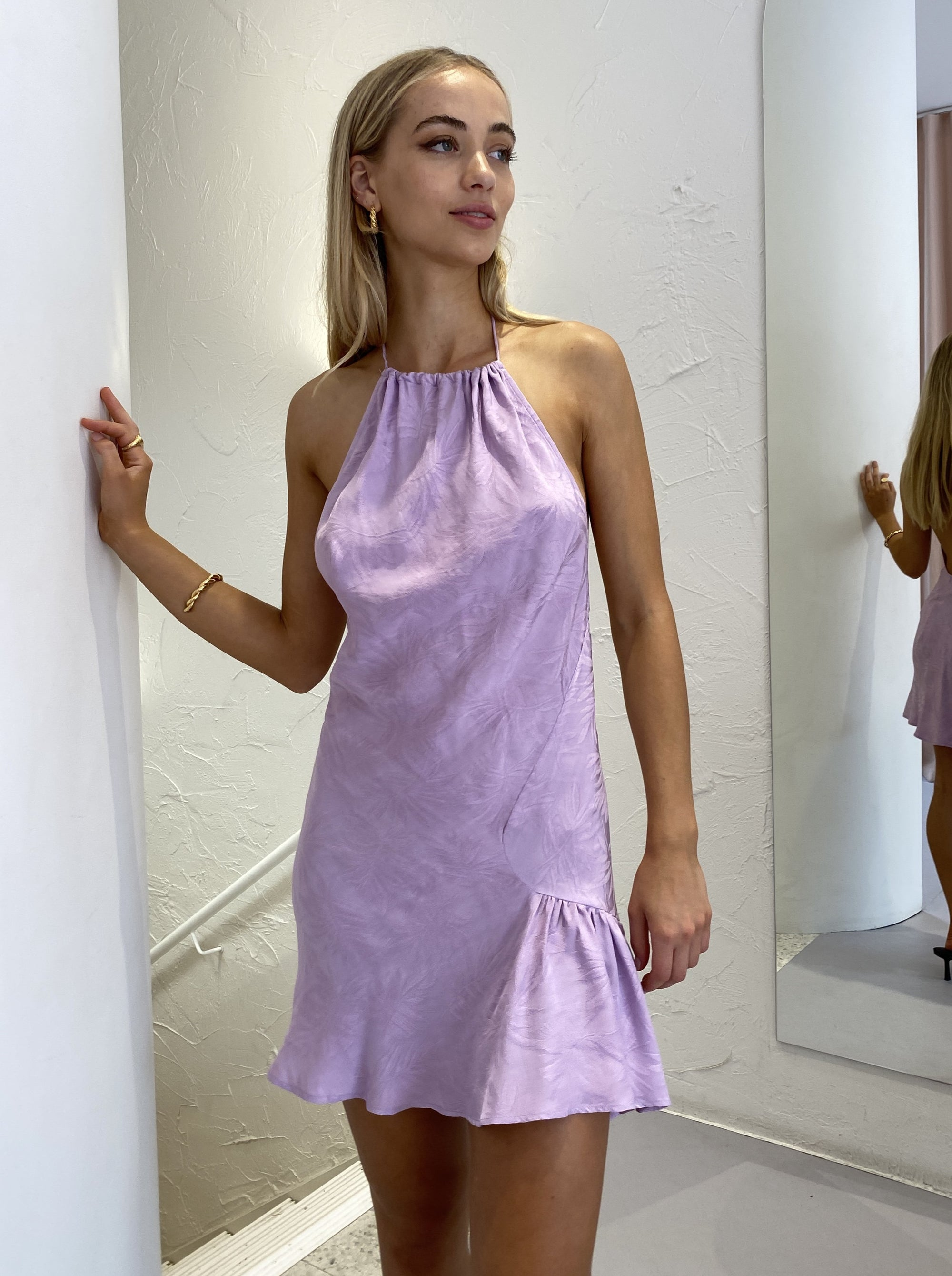 One Fell Swoop La Calafornie Mini Dress in Periwinkle Jacquard