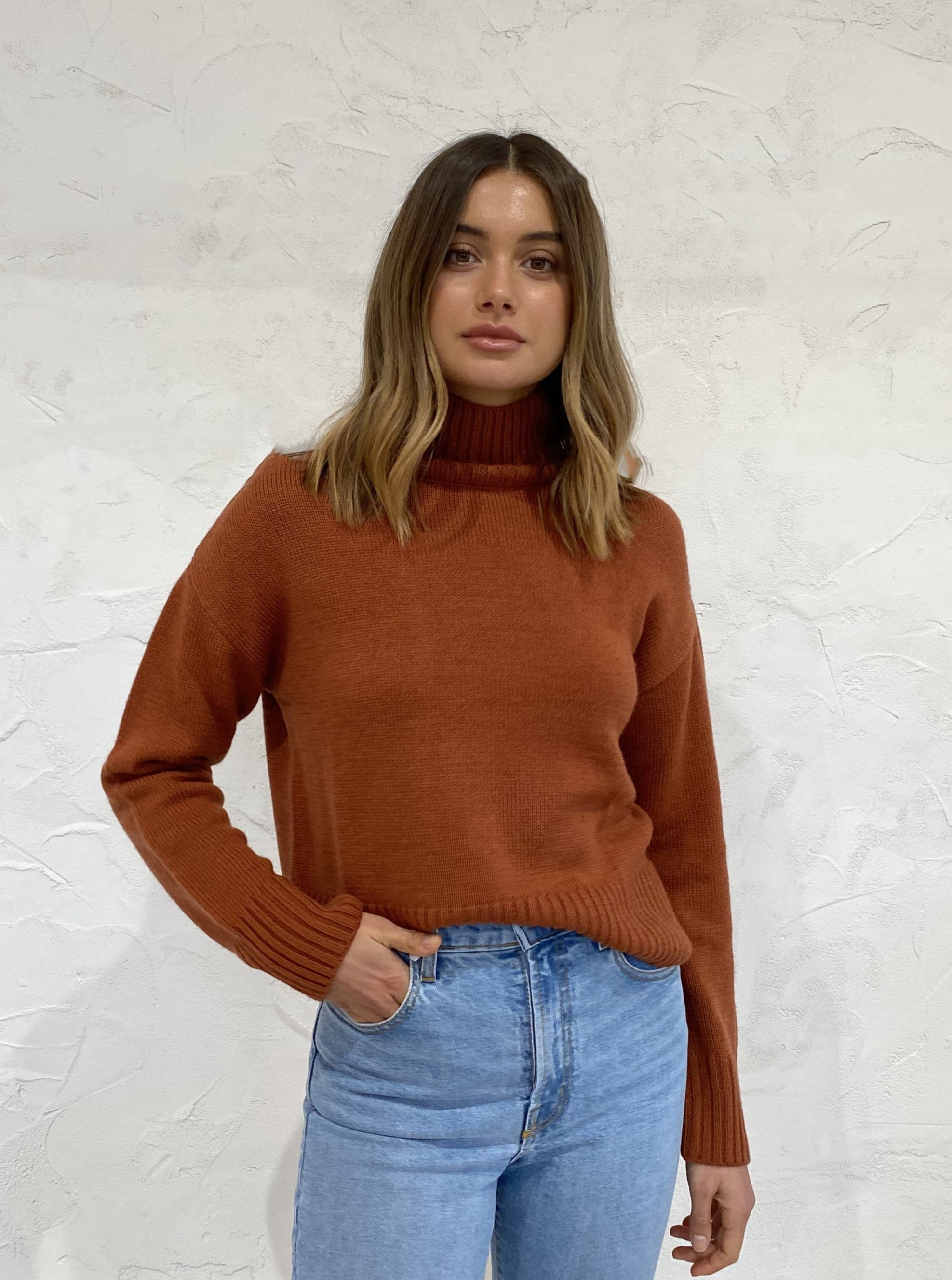 Third Form Lift Up Knit Turtle Neck in Rust