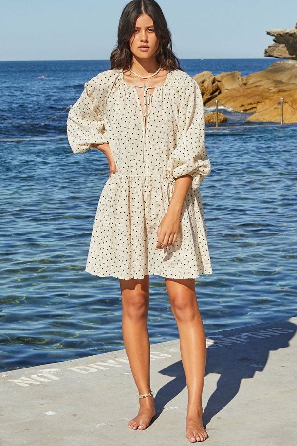 Bec & Bridge Paradise Bay Mini Dress in Cream Based Spot
