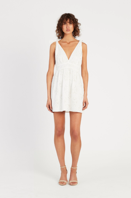 SIR Celeste Tie Mini Dress in Ivory