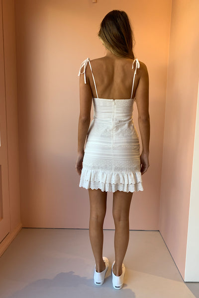 SIR Dilone Embroidered Mini Dress in Ivory
