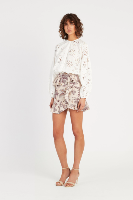 SIR Avery Ruffle Mini Skirt in Print
