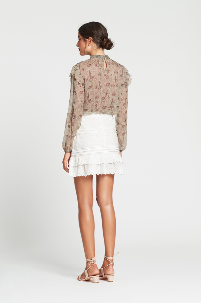 SIR Dilone Embroidered Mini Skirt in Ivory