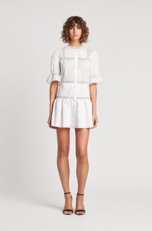 SIR Maci Pleat Mini Dress in White