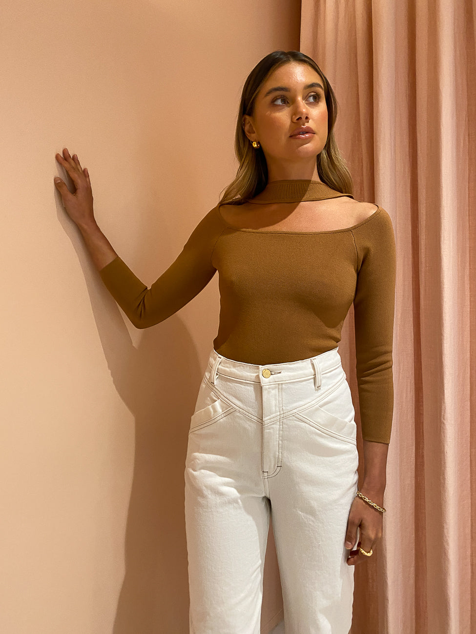 SIR Maxine Long Sleeve Bodysuit in Camel