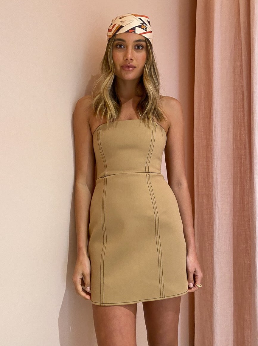 SIR Andre Strapless Mini Dress in Camel
