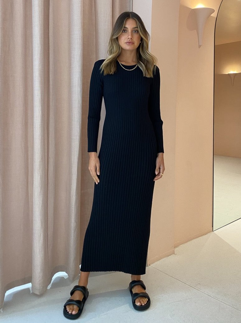 SIR Lucca Long Sleeve Dress in Black