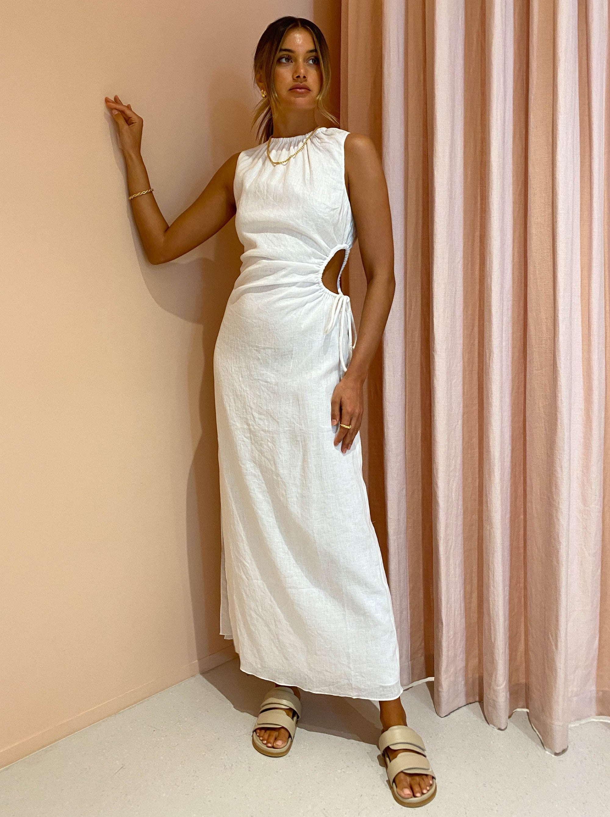 SIR Blanche Cut Out Dress in Ivory