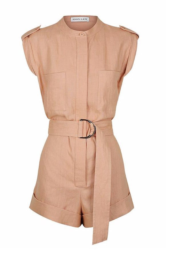 Shona Joy Savannah Short Boiler Suit in Desert Rose
