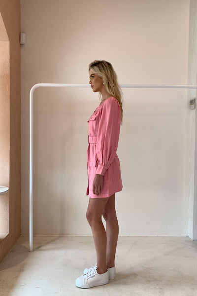 Steele Geneva Detail Dress in Bubblegum