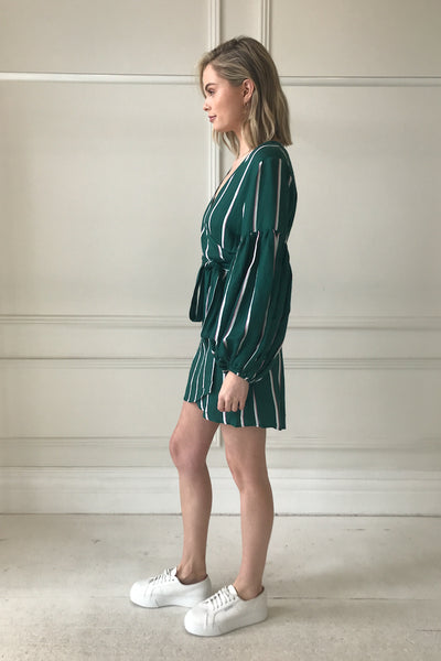 Steele Meyer Wrap Dress in Aloe Stripe