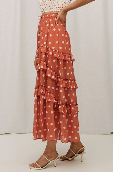 Steele Poppy Skirt in Sienna Polka