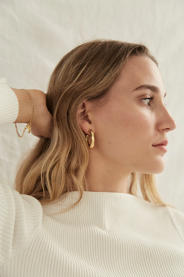 Brie Leon Veeda Stud Hoops in Gold