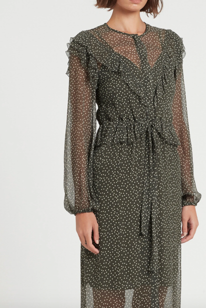 SIR Isabella Long Sleeve Midi Dress in Olive Polka Dot