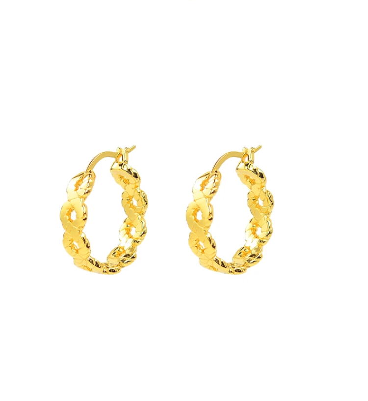 Brie Leon Plait V2 Hoops in Gold