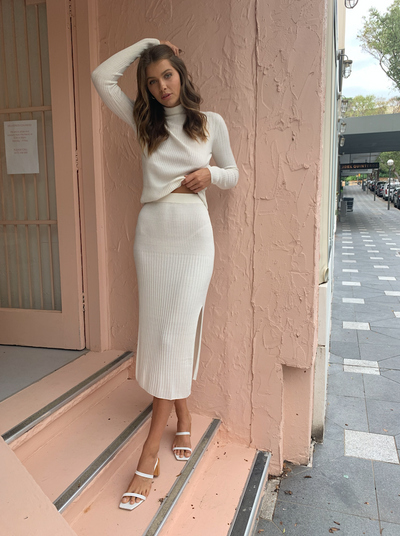 SIR Astrid Midi Skirt in Ivory