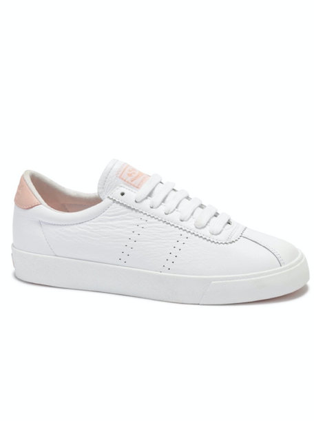 Superga x Coco Clubs Leather Sneaker in White/Pink