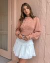 Joslin Kristin Cotton Cashmere Knit in Dune Pink