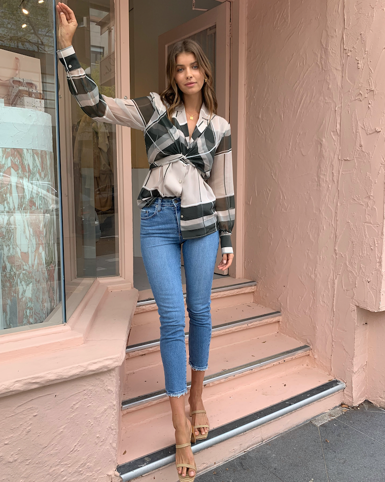 Viktoria and Woods Louvette Wrap Top in Carter Check
