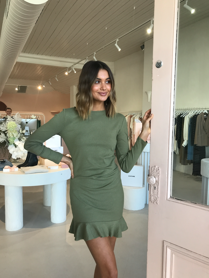 By Nicola Belle Frill Mini Dress in Sage